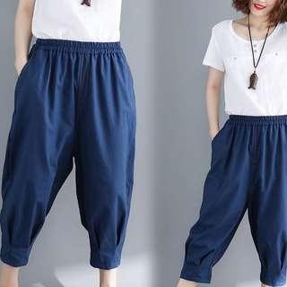 Plus Size Summer dress elastic waist nine pants pure casual pants
