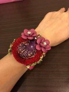 Authentic Snake Skin enamel bling cuff bracelet