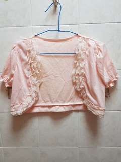 Baby Pink Lace Puffed Sleeves Crop Cardigan