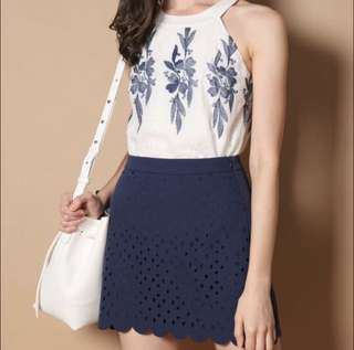 TSW Steph Laser Cut Scallop Skirt in Navy