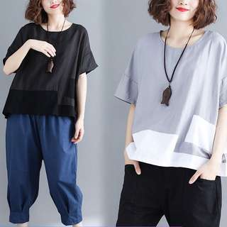 Plus Size Summer cotton and linen women's shirt stitching hit color round neck short-sleeved shirt T-shirt
