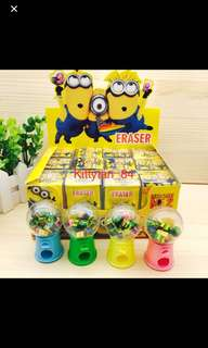 Cute Minions Eraser Dispenser Set