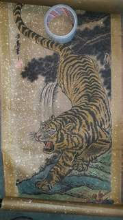 Painting old Chinese tiger. White dots on the painting is origin.