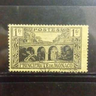 [lapyip1230] 摩納哥大公國 1922年 城堡 壹法郎高面額 舊票 VFU