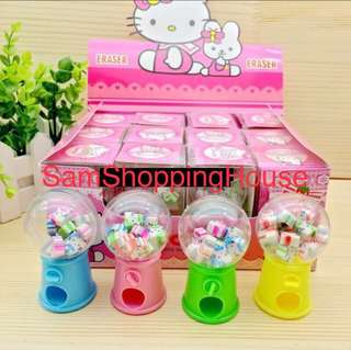 Cute Hello Kitty Eraser Dispenser Set