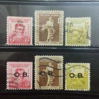 "[lapyip1230] 美屬菲律賓 1935年 原票+""OB""加蓋票 舊票 VFU"