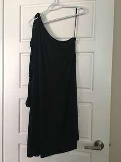 Bcbg maxazria Black one shoulder knotted sleeve flowy black dress