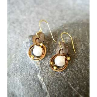HANDMADE! Genuine Pearl Earrings 20115
