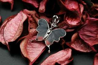 Navia Jewelry Real Butterfly Wing Jewelry Necyria duellona Silver