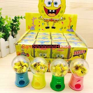 Cute Spongebob Eraser Dispenser Set