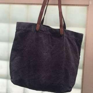 絕版 ESPRIT 逛街包 手提包 側背包  購物袋 帆布包  帆布袋 帆布+牛皮