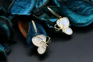 Navia Jewelry Real Butterfly Wing Jewelry Morpho sulkowski Silver Earrings