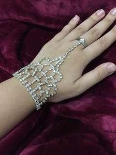 Rhinestone chain ring bracelet