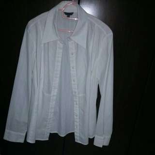 White long sleeve  formal office collared blouse with stripes