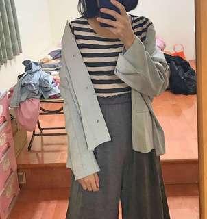 🚚 條紋袖網紗彈性上衣