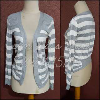 Grey stripe sweater outerwear