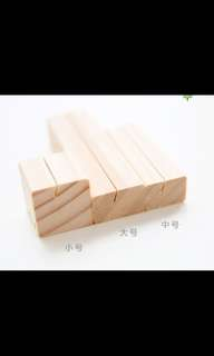Square wooden block photo holder
