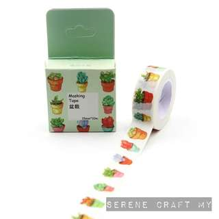 Set of 10m Succulent Plants In A Pot Washi Tape