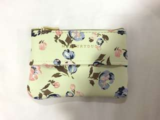 Mercury Duo Green Floral Tissue Pouch Make Up Pouch