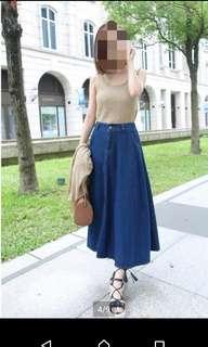 🚚 深藍色牛仔長裙