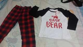 2 piece bear print family matching contrast t-shirt and plaid pants set.
