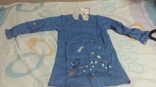Sweet flower embroidery  long - sleeve denim dress