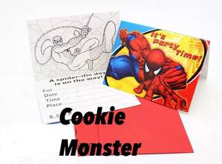 💥Superheroes Spiderman party supplies - Spiderman Invitation Cards