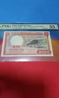 $10-MBB SOLID A/24-444444.PMG55EPQ.VERY RARE.SERIAL SMALL (A)