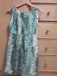 Zara Basic dress sz s green cream print patterned
