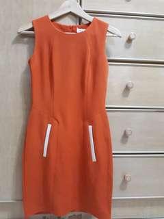 Mod Twiggy-style mini dress orange sz s