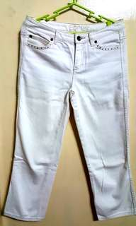 Esprit White Denim Frayed and Cropped Trousers