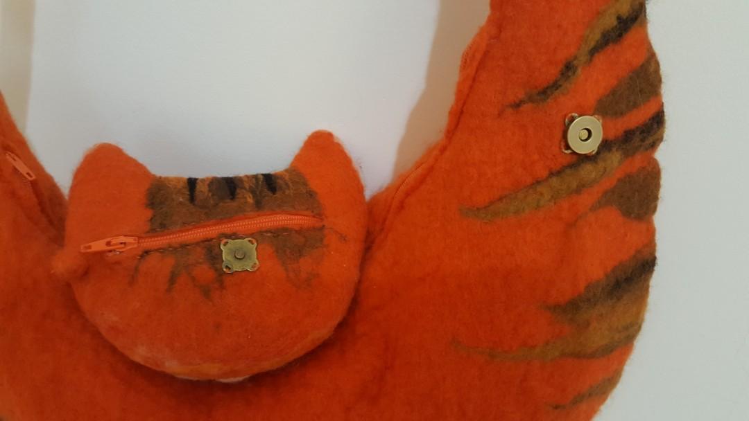 橘貓美麗諾羊毛手工包(現貨)