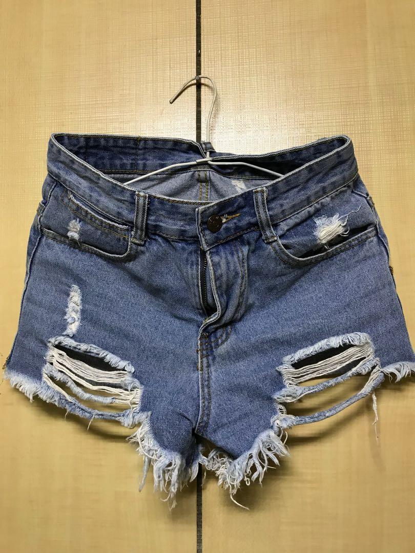 牛仔高腰短褲 直筒牛仔裙