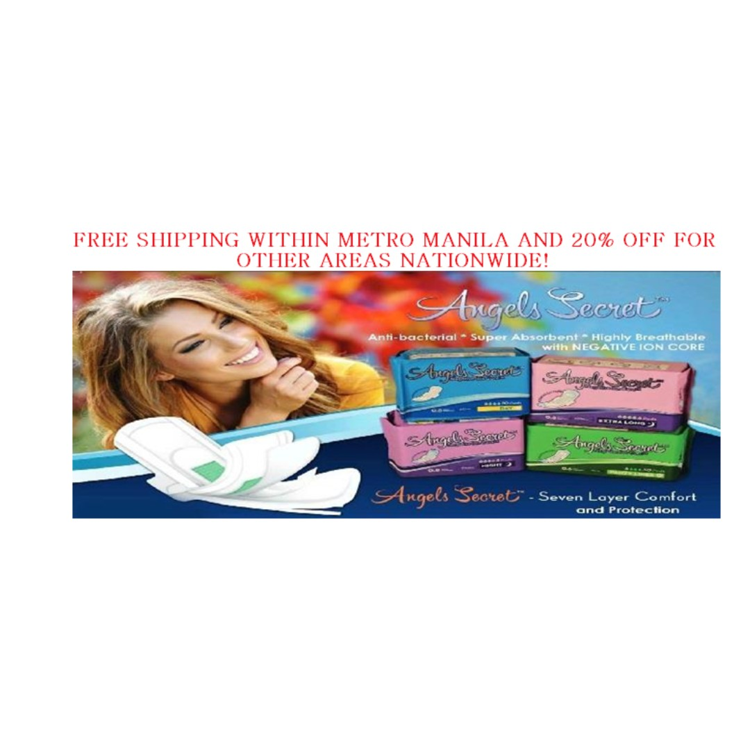 Angels Secret With Negative Ion Core Sanitary Pad And Panty Liner Avail Pantiliner Health Beauty Skin Bath Body On Carousell