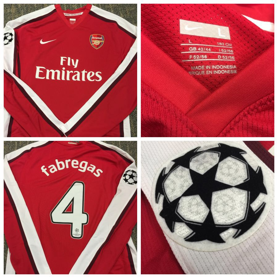 4b13179b5fe Authentic Nike Arsenal Player Issue Champions League Jersey Fabregas ...
