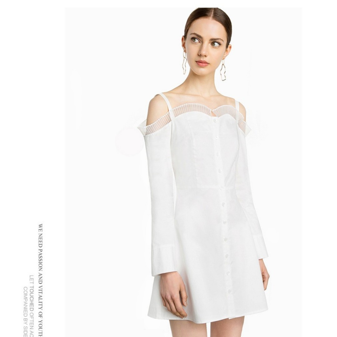 0b2f45d87b74 button down off shoulder dress in white