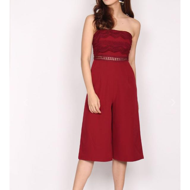 8e8ee4132ae Danette Tier Lace Tube Jumpsuit in Wine Red