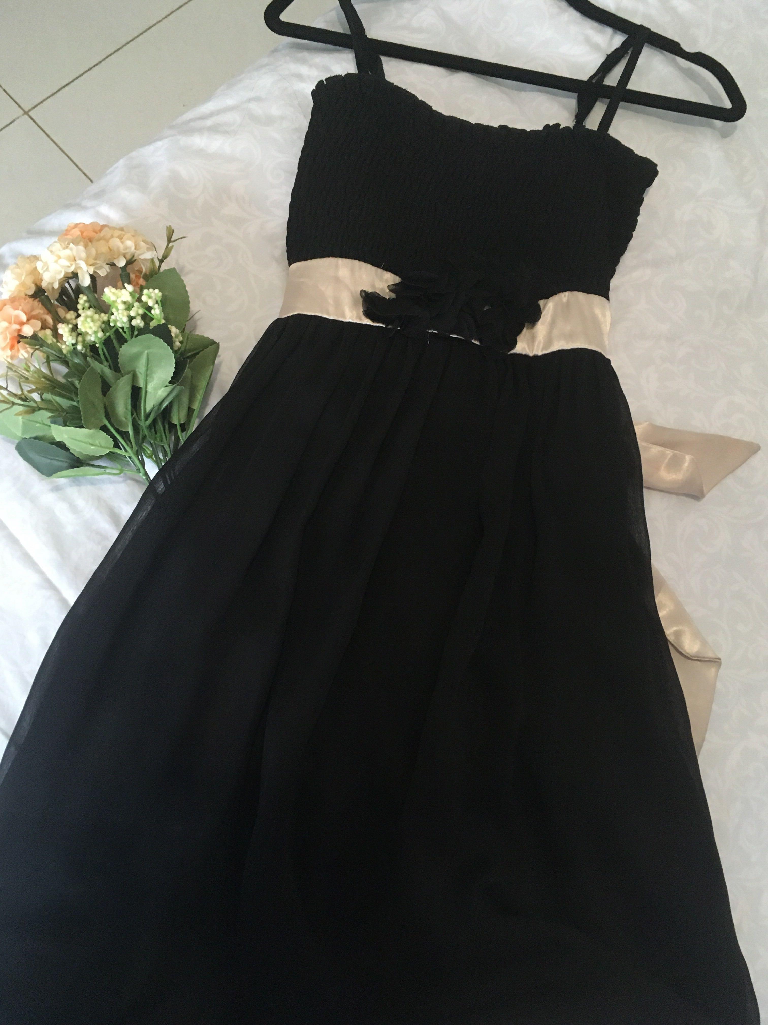 Dress hitam anak pita gold