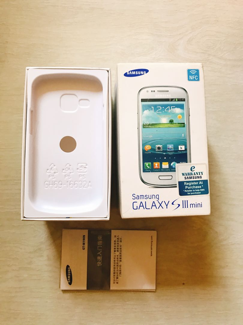 Empty box for Samsung galaxy s III mini with manual book, Mobiles &  Tablets, Others on Carousell