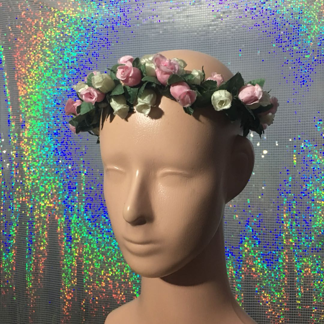 fashion - flower crown pink and white