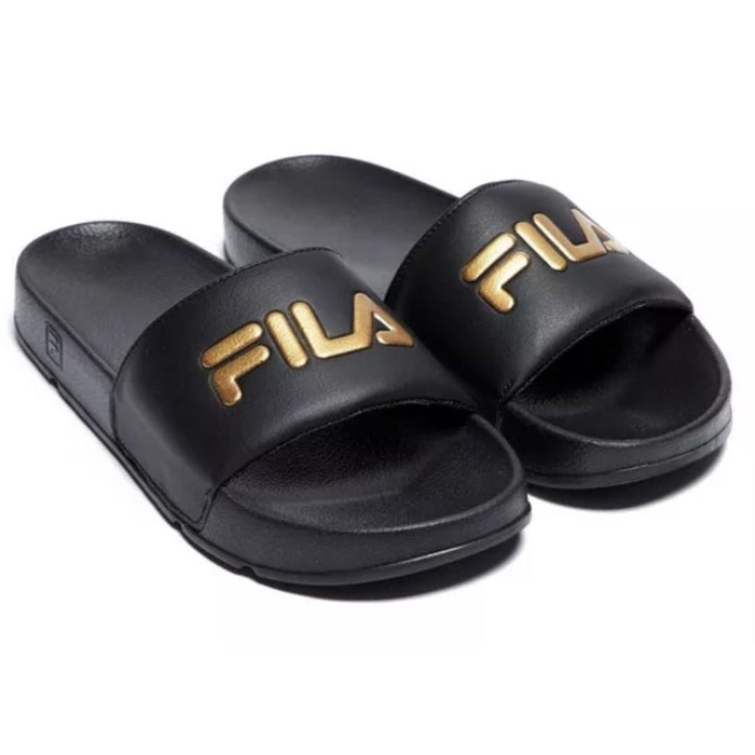 f27f3bf3878 Fila Slide Black with Gold Letter UK5