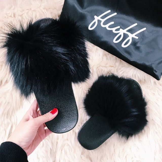 Fluff Fur Slides Black