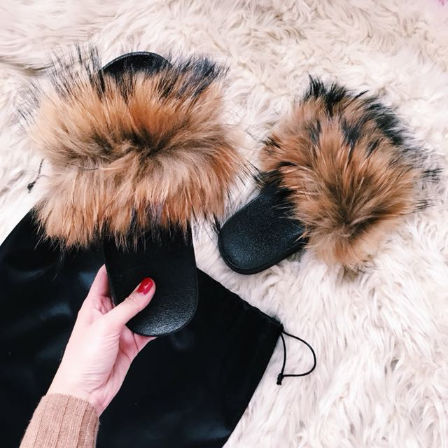 Fluff Fur Slides Brown