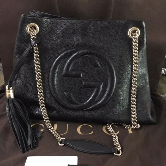 7f2019099c3 Gucci soho chain shoulder tote bag