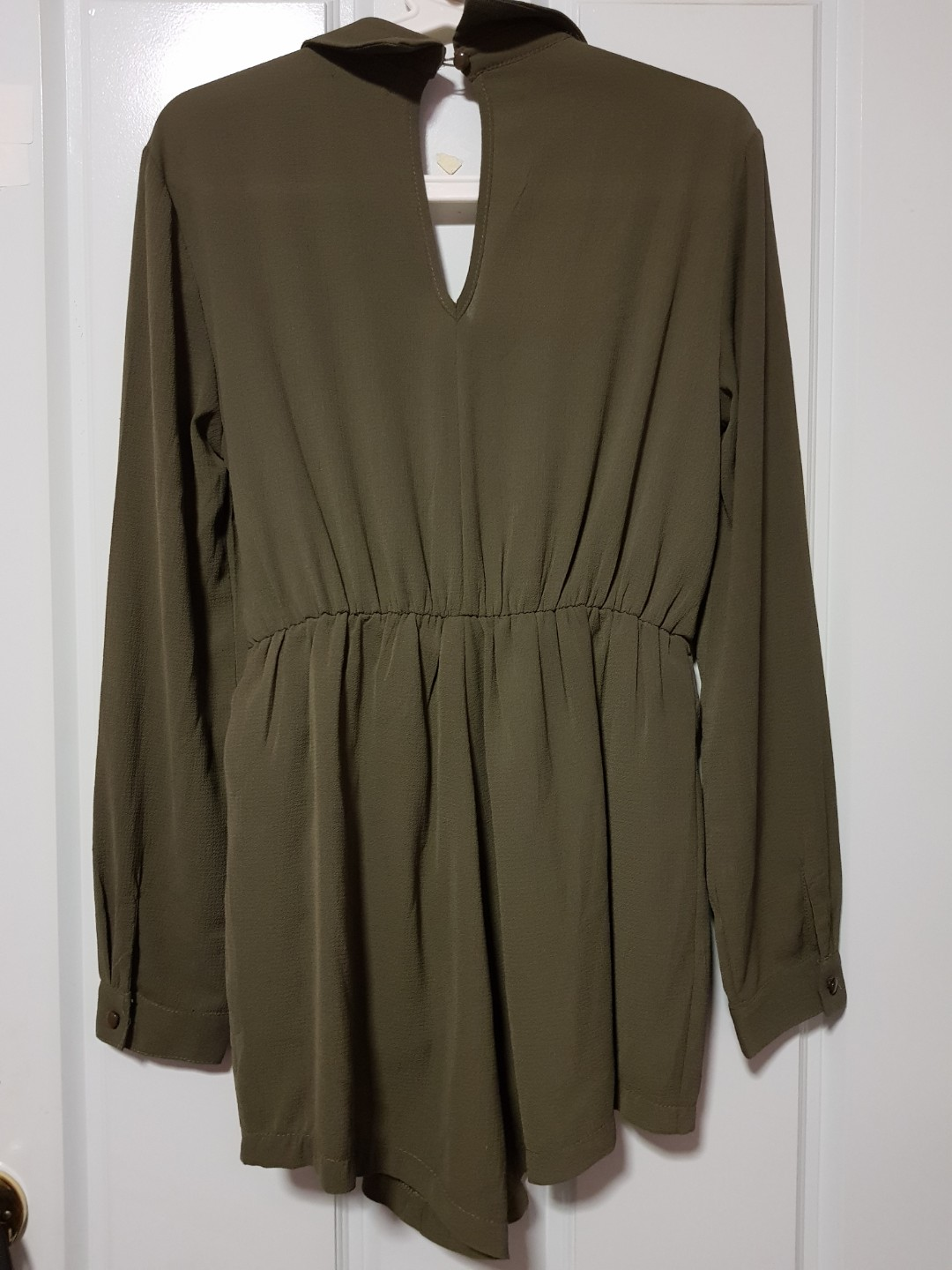Khaki Long Sleeve Playsuit