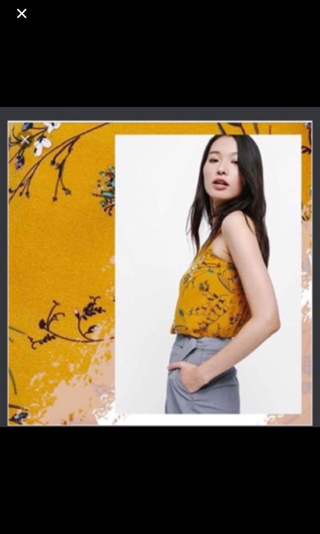 d77918f51b18bb Kiara Printed Swing Camisole in Mustard