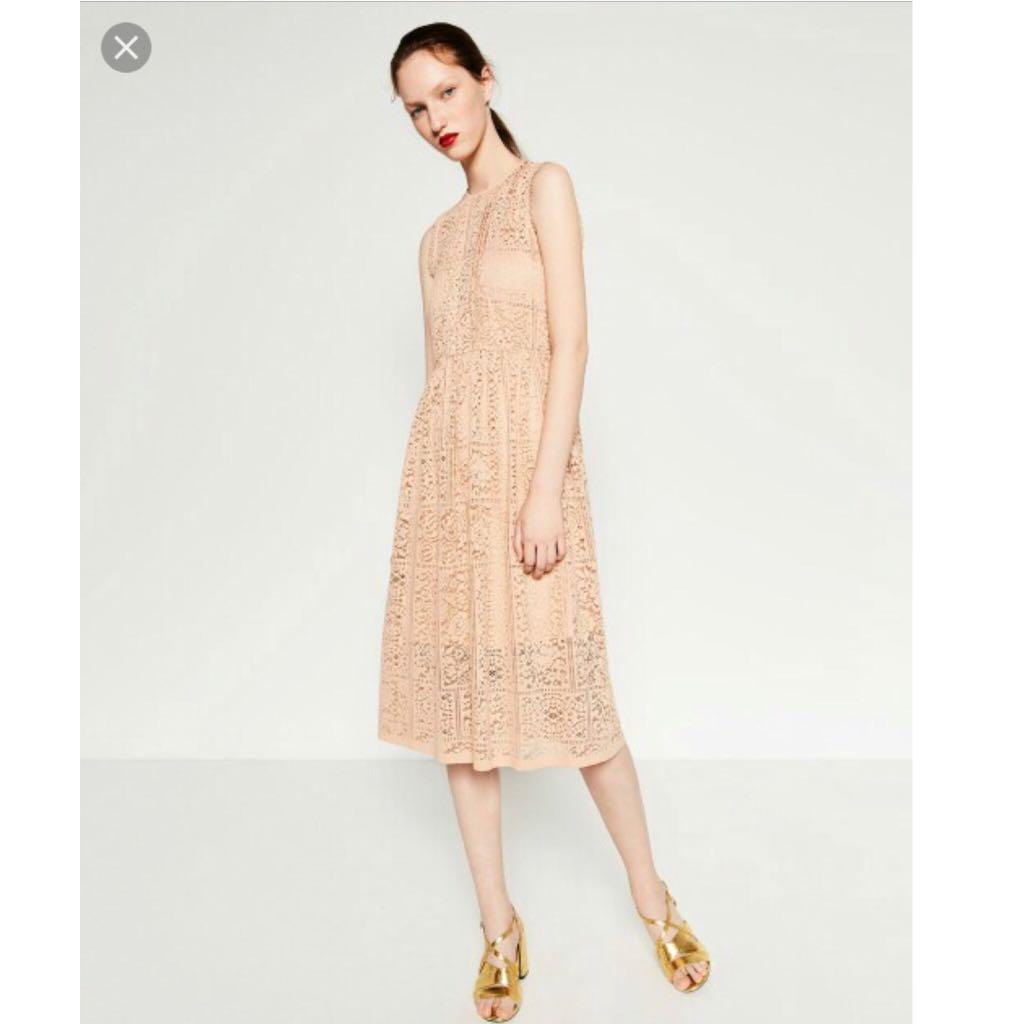 1dcfa834 Zara Nude Lace Dress - XS, Women's Fashion, Clothes, Dresses & Skirts on  Carousell