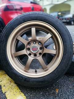 Mugen gp 15 inch sports rim jazz tyre 70%. *below market price*