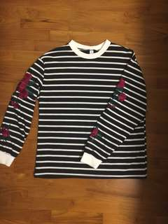Korean Striped Jumper with Embroidery