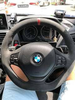 BMW F20 steering with carbon fibre trim and alcantara